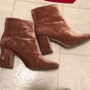 Pink velvet zara boots